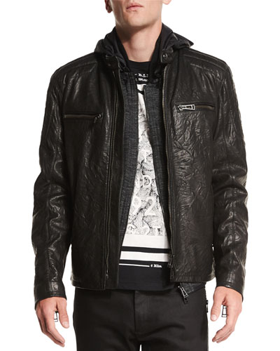 Archer Coated Leather Jacket, Black