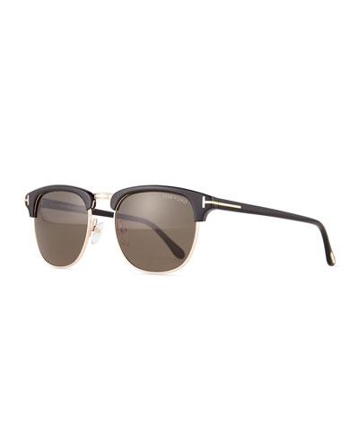 Henry Shiny Rose Gold Half-Rim Sunglasses