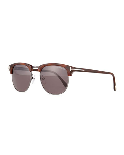Henry Shiny Gunmetal Half-Rim Sunglasses, Brown