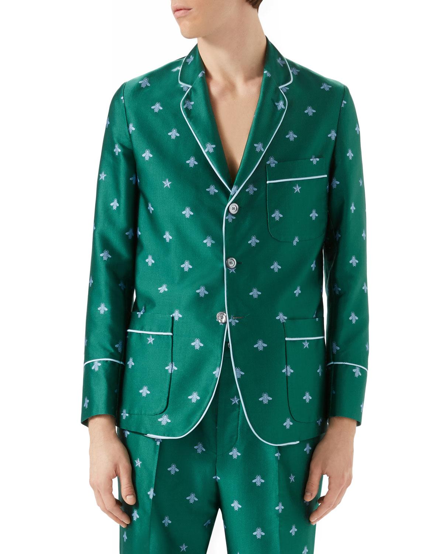 Bee-Embroidered Jacquard Pajama Jacket, Teal