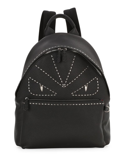 Stitched Monster Eyes Leather Backpack, Black