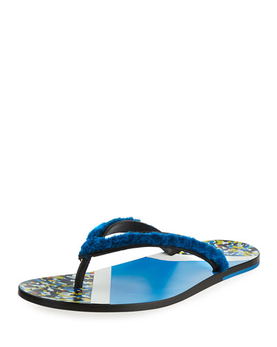 Men's Confetti Fur Flip-Flop Sandal, Blue