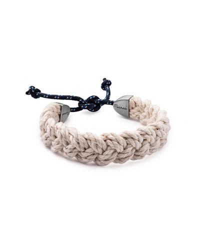 Nantucket Men's Braided Bracelet, Natural/Indigo