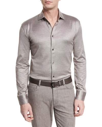 Cotton/Silk Long-Sleeve Sport Shirt, Light Brown