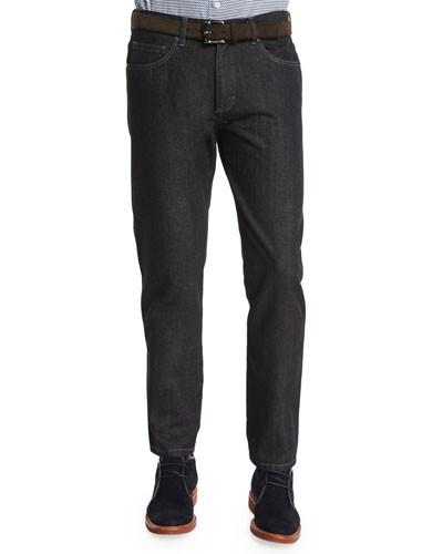 Cotton-Silk Five-Pocket Denim Jeans, Black