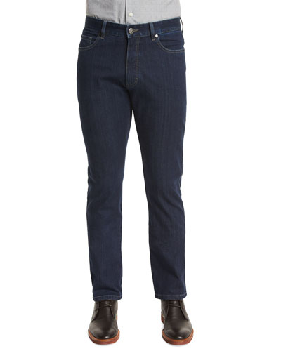 Five-Pocket Stretch-Cotton Denim Jeans, Medium Indigo