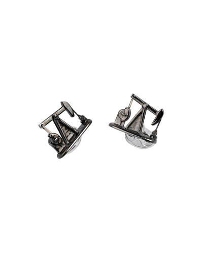 Nodding Donkey Silver Cuff Links