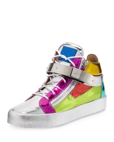 Multicolored Metallic Mid-Top Leather Sneaker, Multi