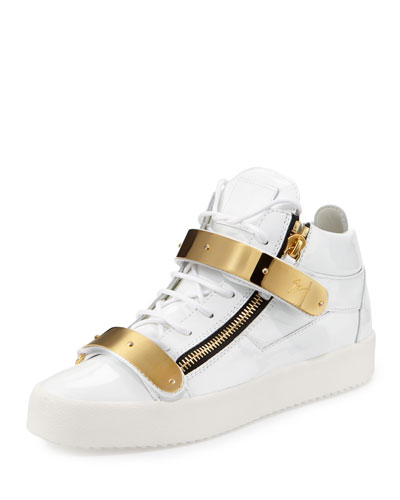 Double-Strap Patent Mid-Top Sneaker, Gold/White