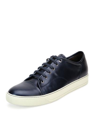 Cap-Toe Shiny Leather Low-Top Sneaker, Blue