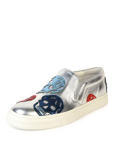 Metallic Skull Skate Shoe, Silver/Red/Blue