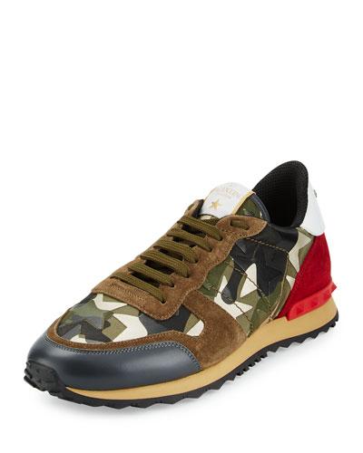 Rockrunner Camo/Star-Print Sneaker, Gold/Green