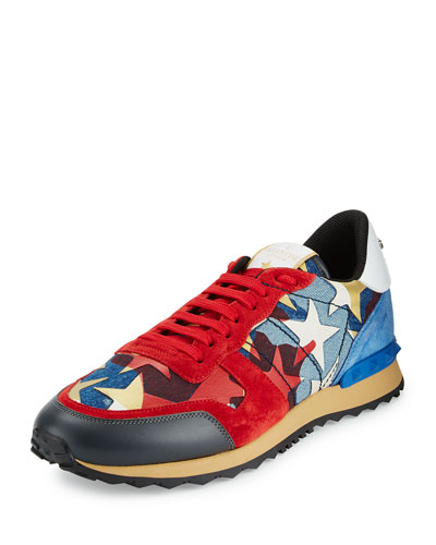 Rockrunner Camo & Star-Print Denim Sneaker, Blue/Red