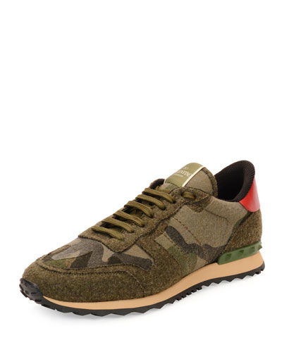 Felt Camo-Print Trainer Sneaker, Green