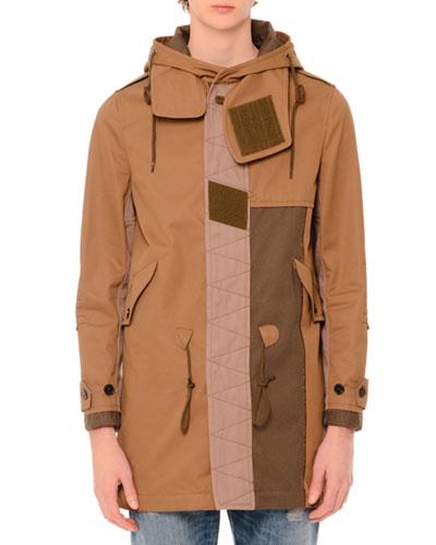 Patchwork Hooded Duffle Coat, Olive/Khaki