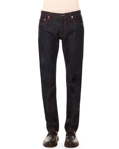 Five-Pocket Clean-Wash Denim Jeans with Rockstud Detail, Dark Blue