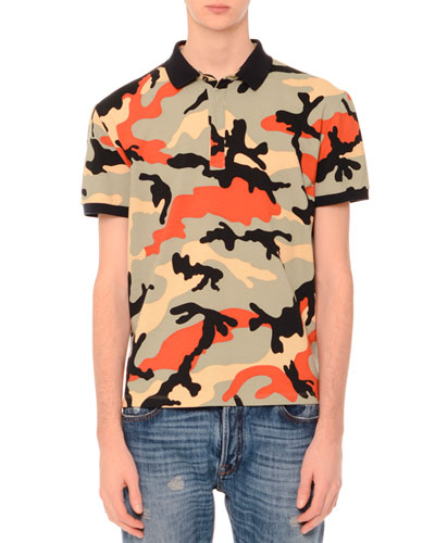Camo-Print Short-Sleeve Polo Shirt, Multicolor
