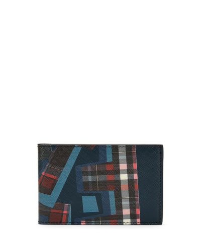 Fusion Abstract-Print Leather Bifold Wallet, Navy/Blue