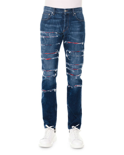 Straight-Leg Slashed Selvedge Denim Jeans, Blue