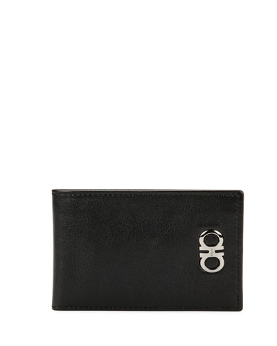 Double-Gancini Leather Bifold Wallet, Black