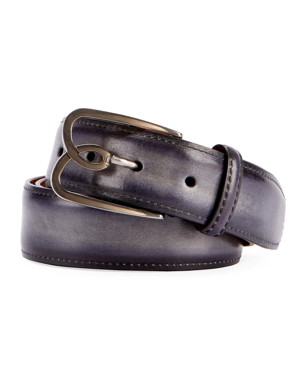 Metal-Logo Leather Belt, Black