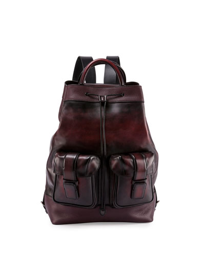 Berluti Horizon Drawstring-Top Leather Backpack, Black