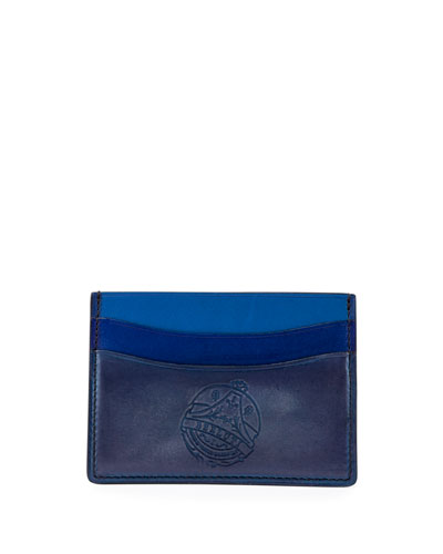 Bambou Stamped-Logo Leather Card Case, Blue