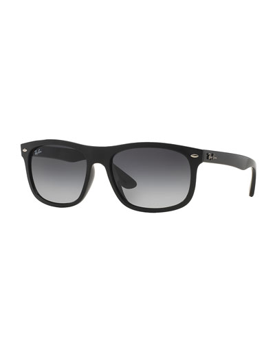 Men's Flat-Top Plastic Sunglasses, Black