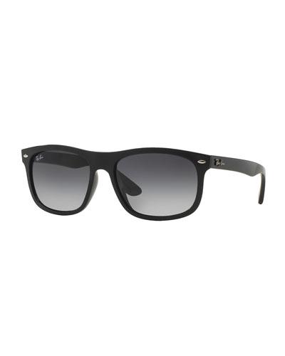 Men's Flat-Top Plastic Sunglasses, Black