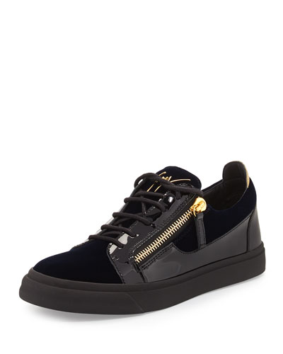 Men's Velvet & Patent Leather Low-Top Sneaker, Navy