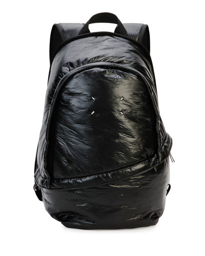 Men's Creased Nylon Double-Zip Backpack, Black