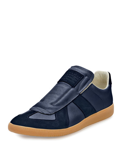 Replica Inside-Out Leather Slip-On Sneaker, Navy