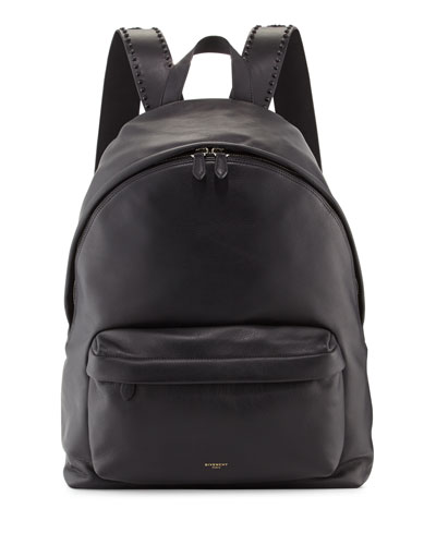 Leather Backpack w/Studded Trim, Black