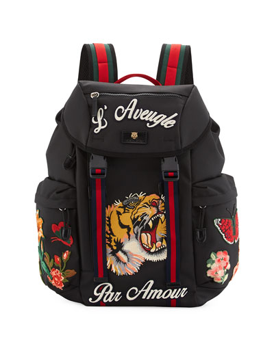 Men's Techpack with Embroidered Patches, Black