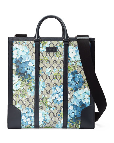GG Blooms North-South Tote, Blue
