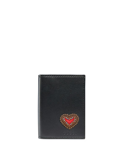 Heart Embroidered Leather Wallet