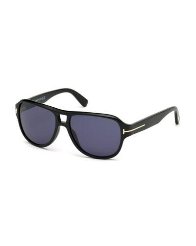 Dylan Men's Shiny Acetate Sunglasses, Black/Blue