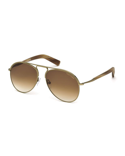 Cody Golden-Metal Aviator Sunglasses, Gold/Brown