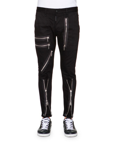 Zipper-Trim Slim-Fit Pants, Black