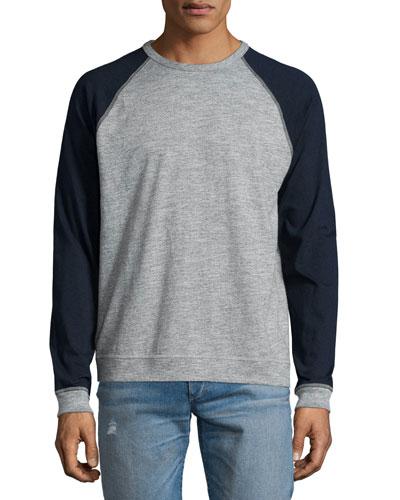 Standard Issue Colorblock Raglan-Sleeve Baseball Shirt, Gray