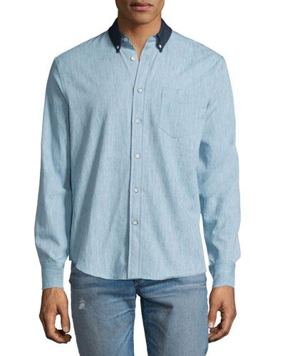 Yokohama Long-Sleeve Chambray Shirt, Indigo