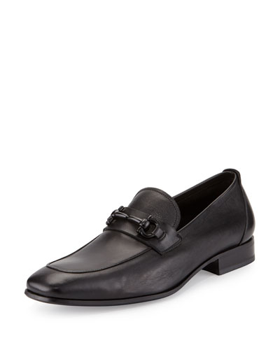 Livingstone Soft Calfskin Gancini Loafer, Black