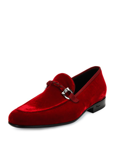 Velvet Slip-On Loafer, Red