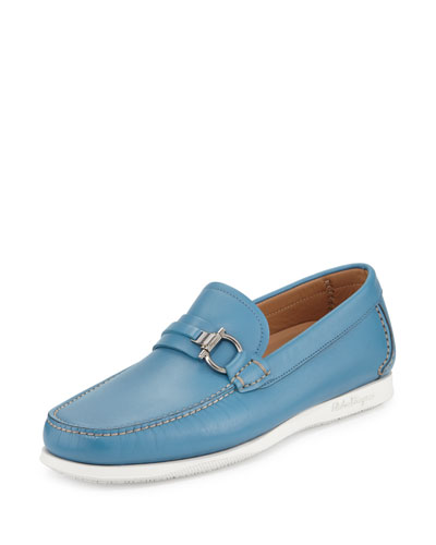 Calfskin Side Gancio Loafer on Rubber Sole, Sky Blue