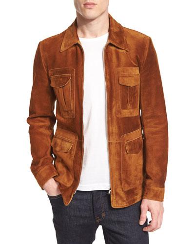 Cashmere-Suede Zip Jacket, Rust