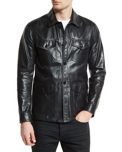 Lightweight Leather Racer Jacket, Black