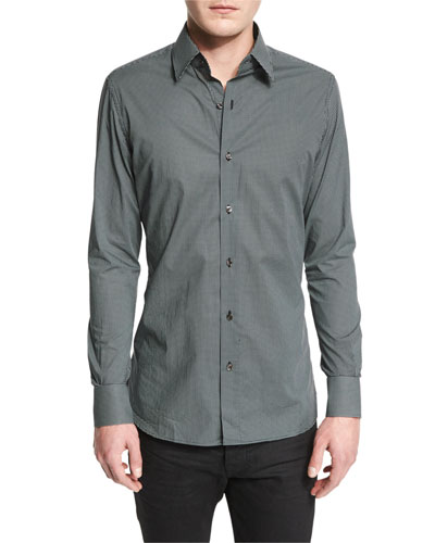 Micro Dot-Print Sport Shirt, Black