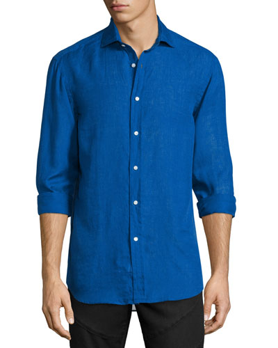 Solid Linen/Cotton Long-Sleeve Sport Shirt, Navy