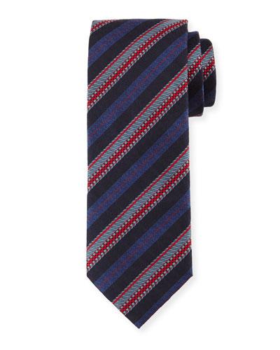 Zipper-Stripe Printed Silk Tie