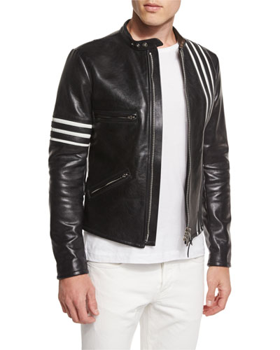 Contrast Stripes Leather Moto Jacket, Black